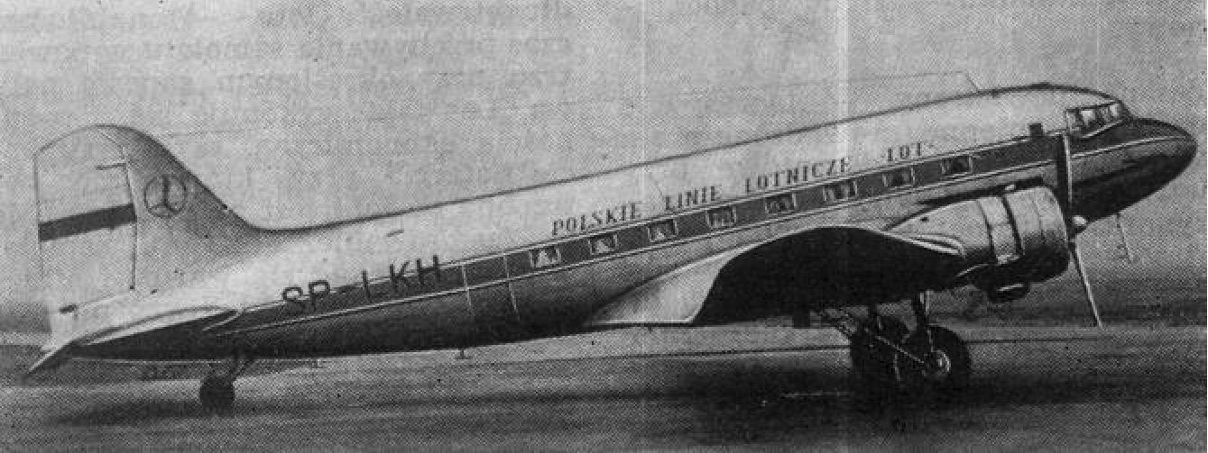 DC-3 rejestracja SP-LKH należący PLL LOT. Zdjęcie wykonane około 1950 roku. Zdjęcie LAC