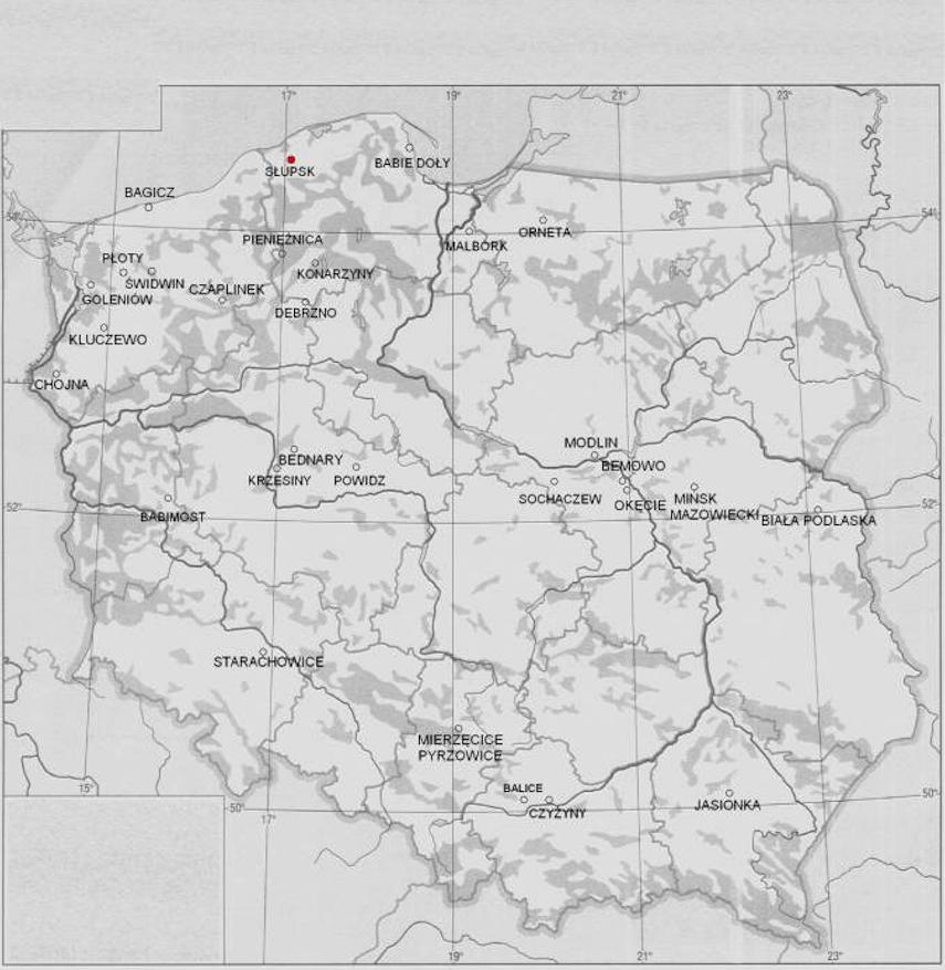 Miejsce bazy na mapie Polski. Redzikowo. 2009 rok
