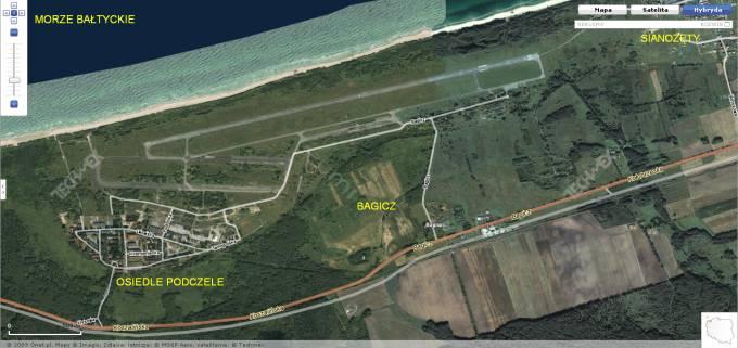 Lotnisko Bagicz w widoku z satelity. 2009r.