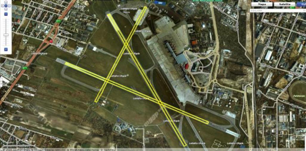 Pierwotny układ DS (RWY) na Lotnisku Okęcie. Około 1950 roku. Zdjęcie google-map