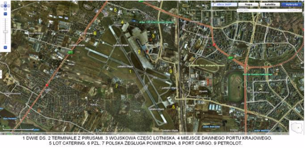 Lotnisko Okęcie widok z satelity. 2009 rok