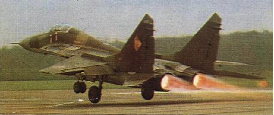MiG-29 NRD. Rzadko spotykany start na dopalaczach. 1991 rok. Zdjęcie LAC